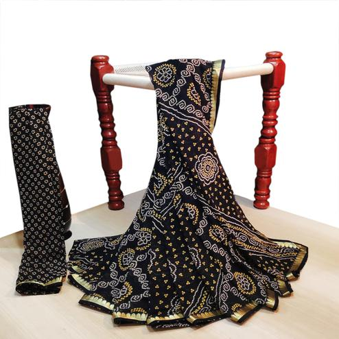 Imposing Black Colored Party Wear Bandhani Printed Georgette Saree