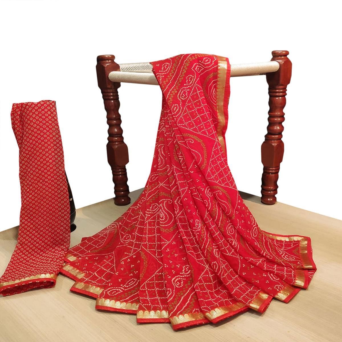 Majesty Red Colored Party Wear Bandhani Printed Georgette Saree