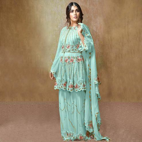 Breathtaking Aqua Blue Colored Partywear Embroidered Georgette Palazzo Suit