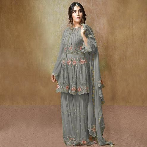 Ravishing Grey Colored Partywear Embroidered Georgette Palazzo Suit