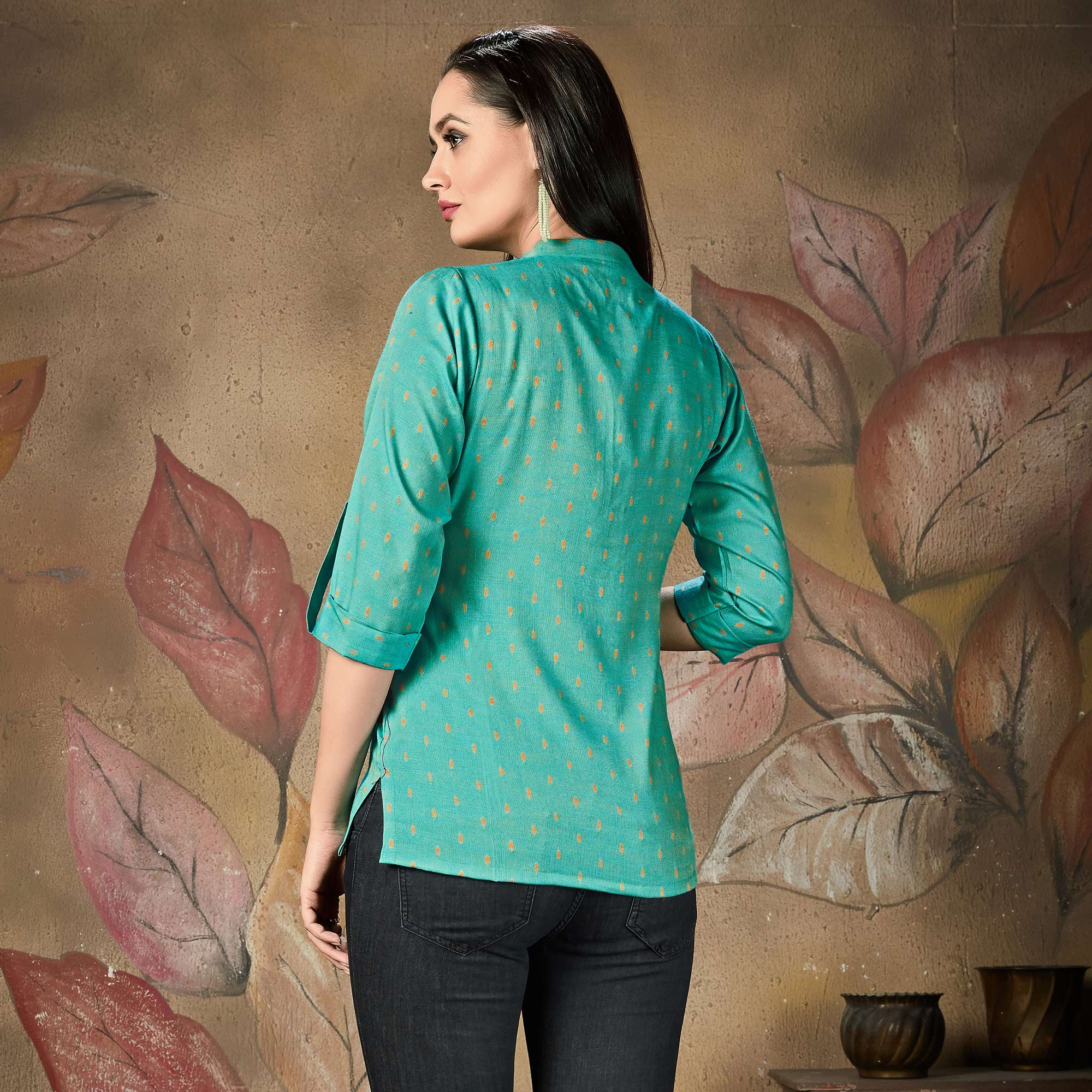 Pretty Teal Green Colored Casual Printed Cotton Top