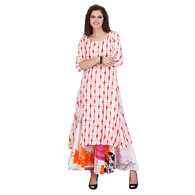 White - Orange Front Slit Casual Kurti
