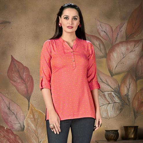 Alluring Pink Colored Casual Printed Cotton Top