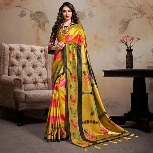 Intricate Multi Colored Festive Wear Printed Silk Blend Saree With Tassels