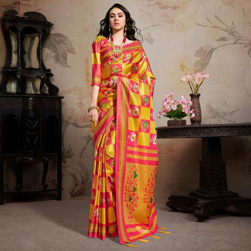 Arresting Musturd & Pink Colored Festive Wear Printed Silk Blend Saree With Tassels