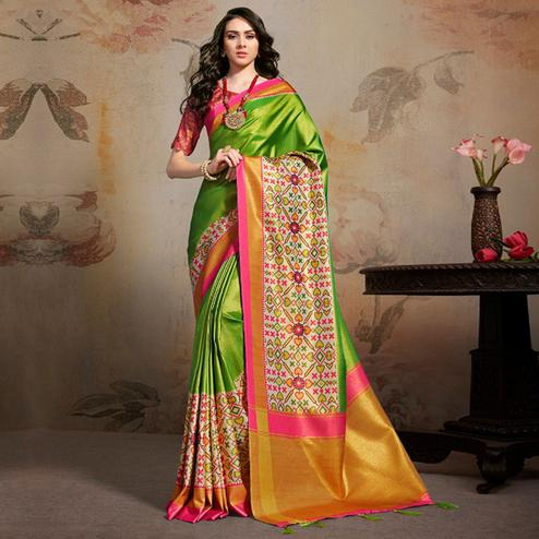 Desirable Green Colored Festive Wear Printed Silk Blend Saree With Tassels