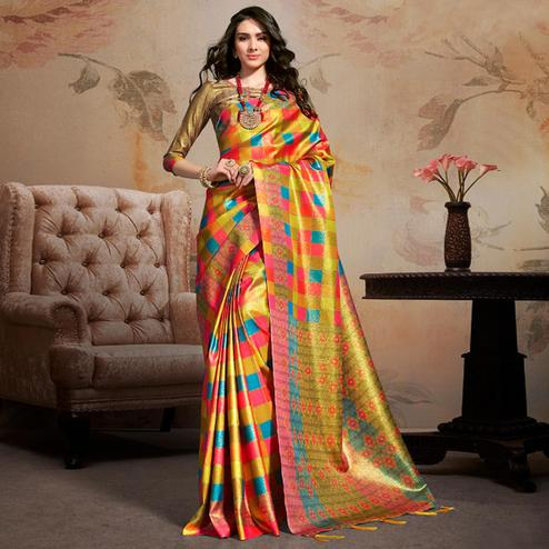 Exotic Multi Colored Festive Wear Printed Silk Blend Saree With Tassels