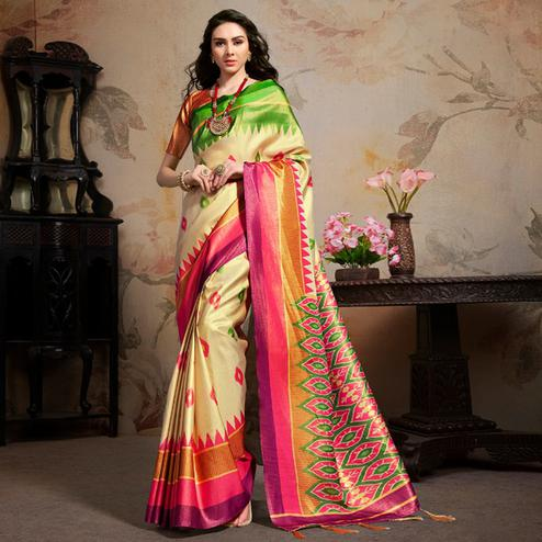 Trendy Beige Colored Festive Wear Printed Silk Blend Saree With Tassels