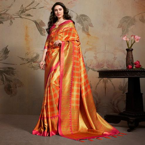 Elegant Orange Colored Festive Wear Printed Silk Blend Saree With Tassels