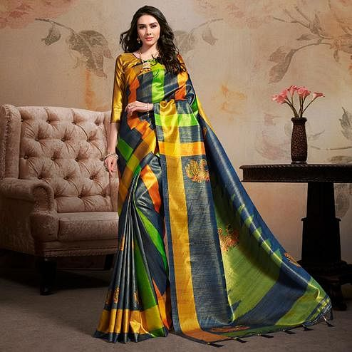 Radiant Multi Colored Festive Wear Printed Silk Blend Saree With Tassels