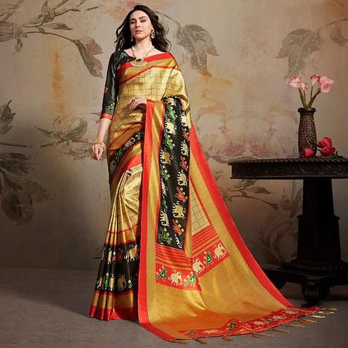 Pleasant Cream Colored Festive Wear Printed Silk Blend Saree With Tassels