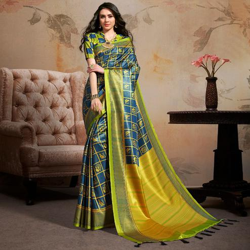 Opulent Blue Colored Festive Wear Printed Silk Blend Saree With Tassels