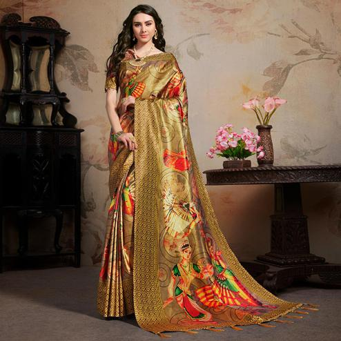 Energetic Beige Colored Festive Wear Printed Silk Blend Saree With Tassels