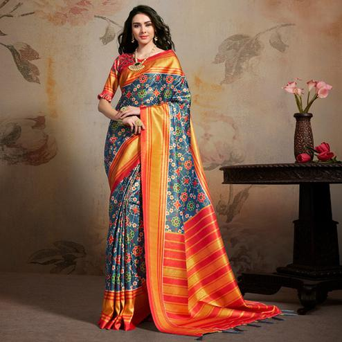 Glowing Blue Colored Festive Wear Printed Silk Blend Saree With Tassels