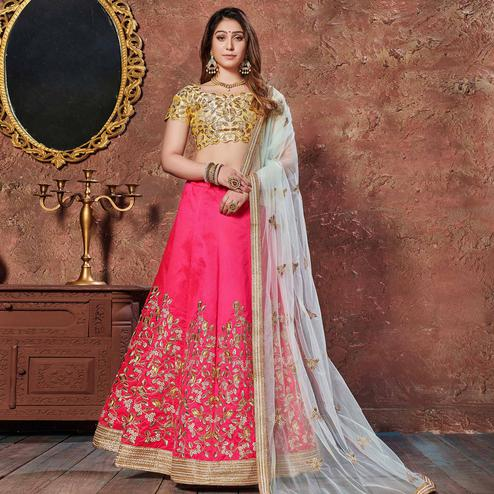 Entrancing Yellow-Pink Colored Wedding Wear Embroidered Mulberry Silk Lehenga Choli
