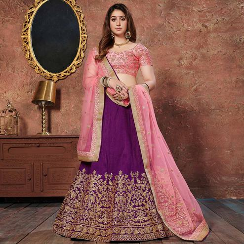 Appealing Purple Colored Wedding Wear Embroidered Mulberry Silk Lehenga Choli
