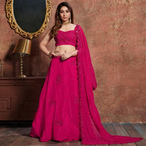 Classy Pink Colored Wedding Wear Embroidered Georgette Lehenga Choli