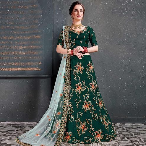 Mesmeric Green Colored Wedding Wear Embroidered Tapeta Satin Silk Lehenga Choli