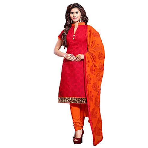 Red - Orange Printed Salwar Suit