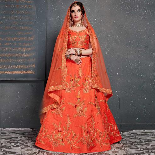 Unique Orange Colored Wedding Wear Embroidered Silk Lehenga Choli