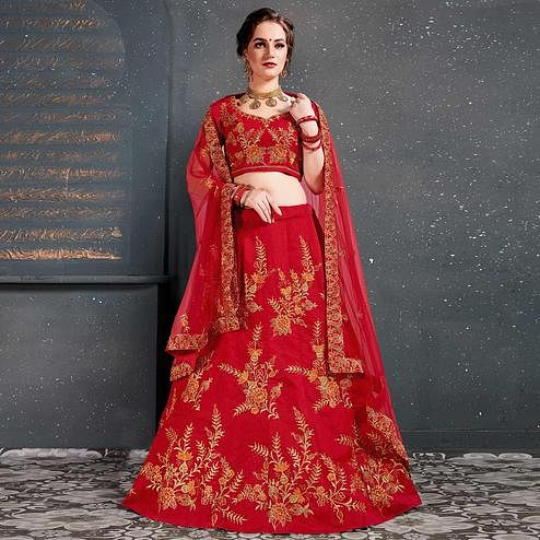 Demanding Red Colored Wedding Wear Embroidered Silk Lehenga Choli