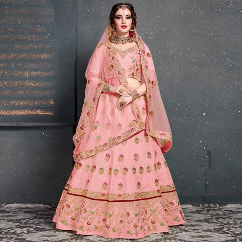Refreshing Pink Colored Wedding Wear Embroidered Silk Lehenga Choli