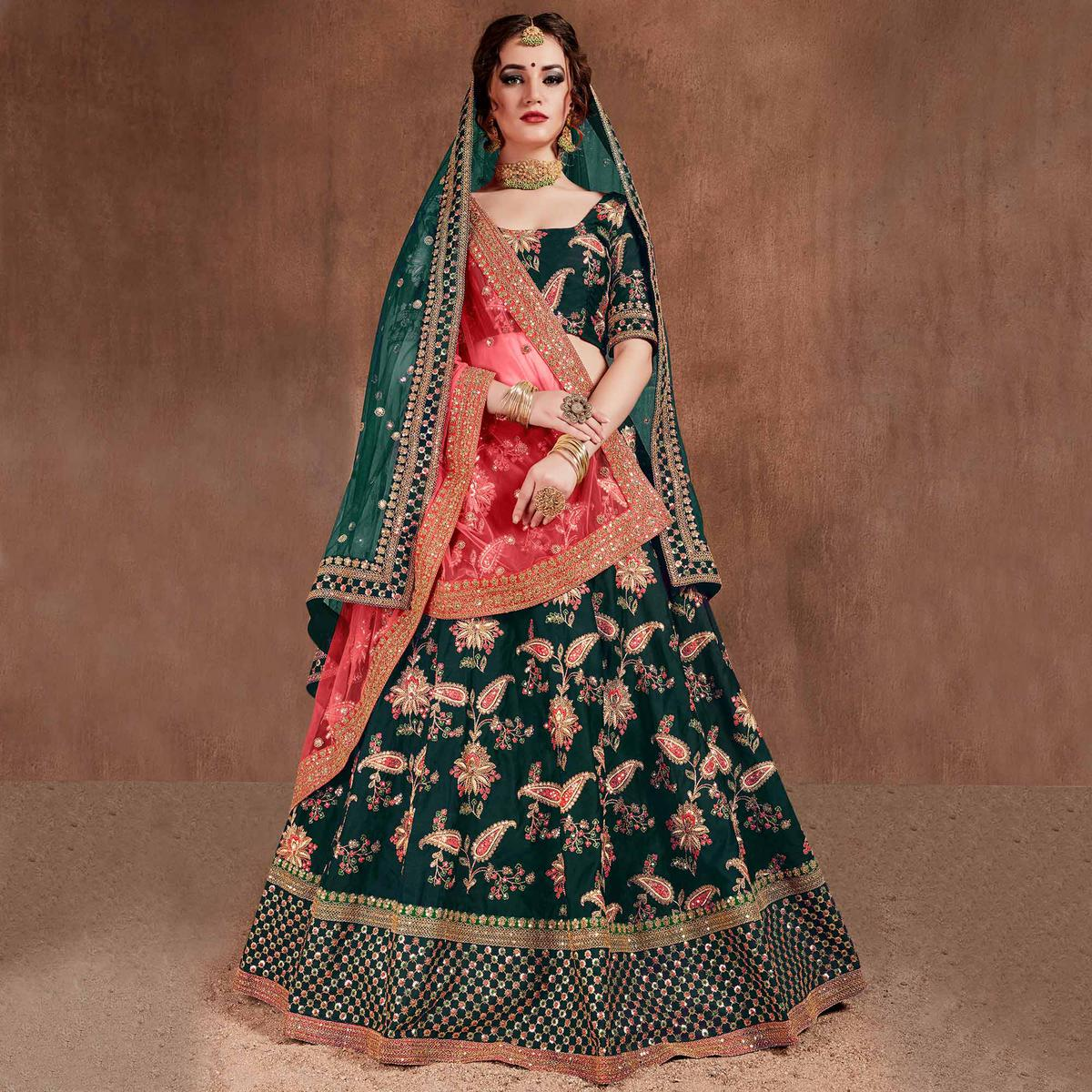 Buy Flamboyant Green Colored Wedding Wear Embroidered Tapeta Silk Lehenga Choli For Women S Wear Online India Best Prices Affordable Prices Best Price Online Reviews Peachmode,Jewel Top Wedding Dress