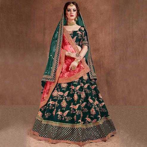 Flamboyant Green Colored Wedding Wear Embroidered Tapeta Silk Lehenga Choli