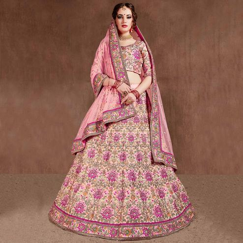 Sensational Pastel Pink Colored Wedding Wear Embroidered Velvet Lehenga Choli