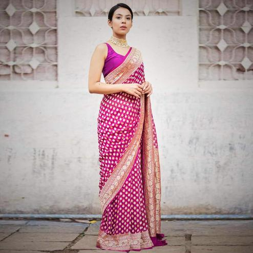 Adorning Magenta Pink Colored Festive Wear Woven Jacquard Silk Saree