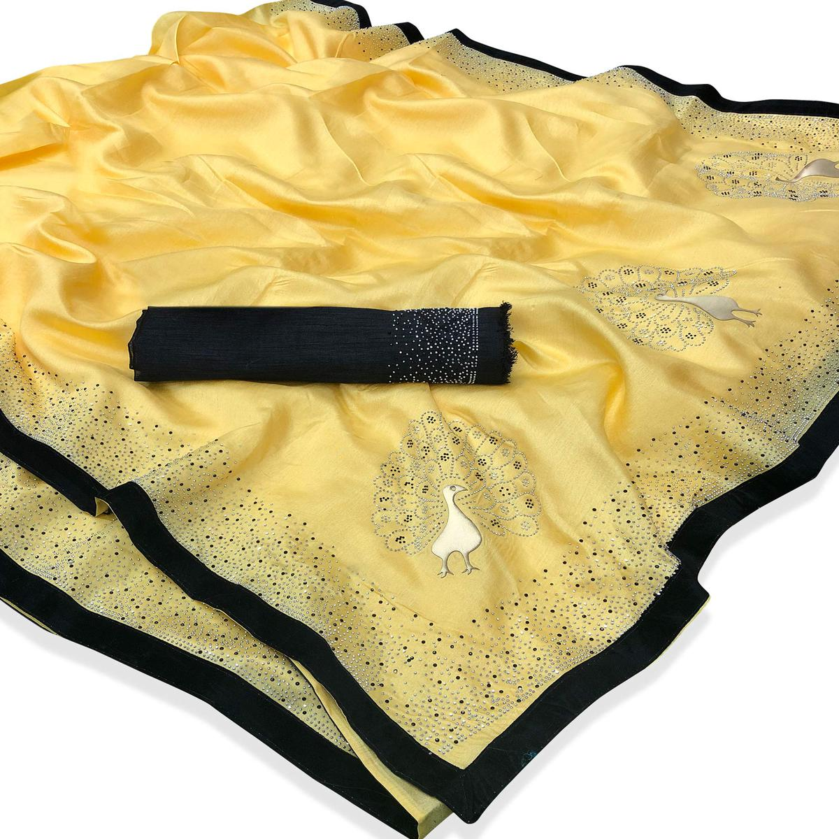 Lovely Yellow Colored Partywear Peacock Stone Work Zoya Silk Saree