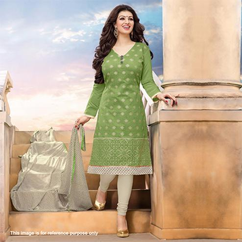 Green - Cream Embroidered Dress Material