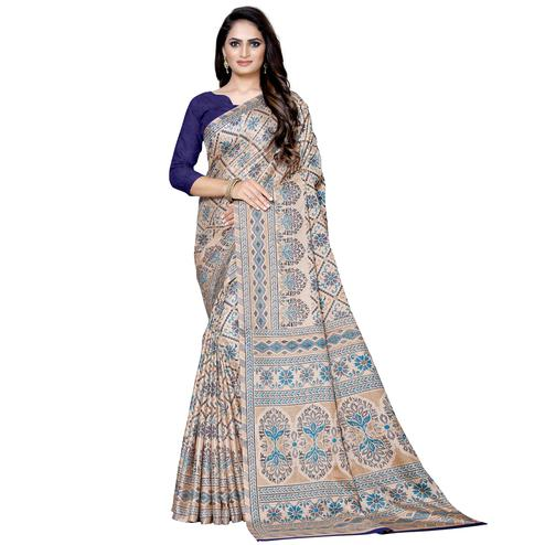 Ideal Beige Colored Casual Wear Printed Manipuri Silk Saree