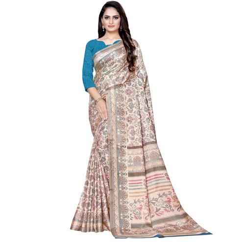 Imposing Beige Colored Casual Wear Printed Manipuri Silk Saree