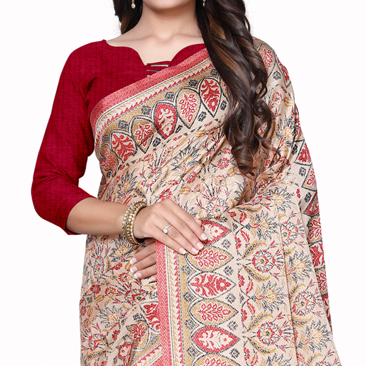 Lovely Beige Colored Casual Wear Printed Manipuri Silk Saree