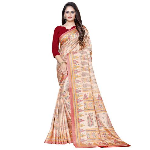 Majesty Beige Colored Casual Wear Printed Manipuri Silk Saree