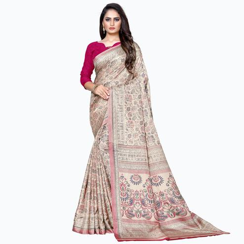 Impressive Beige Colored Casual Wear Printed Manipuri Silk Saree