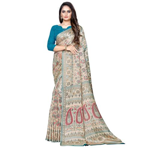 Elegant Beige Colored Casual Wear Printed Manipuri Silk Saree