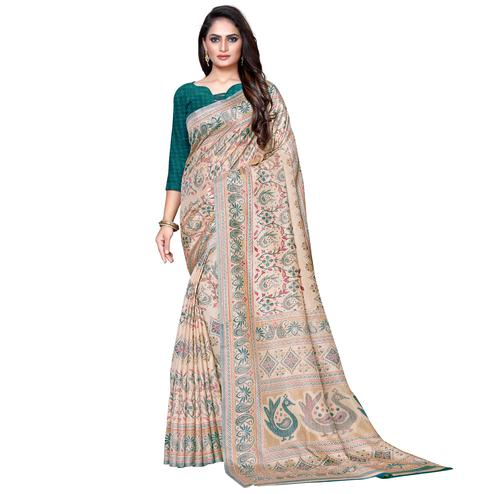 Radiant Beige Colored Casual Wear Printed Manipuri Silk Saree