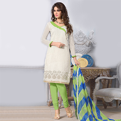 Off White - Green Printed Salwar Suit