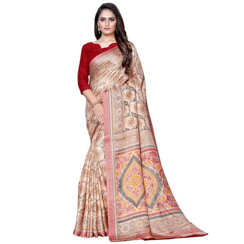 Opulent Beige Colored Casual Wear Printed Manipuri Silk Saree