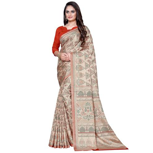 Energetic Beige Colored Casual Wear Printed Manipuri Silk Saree