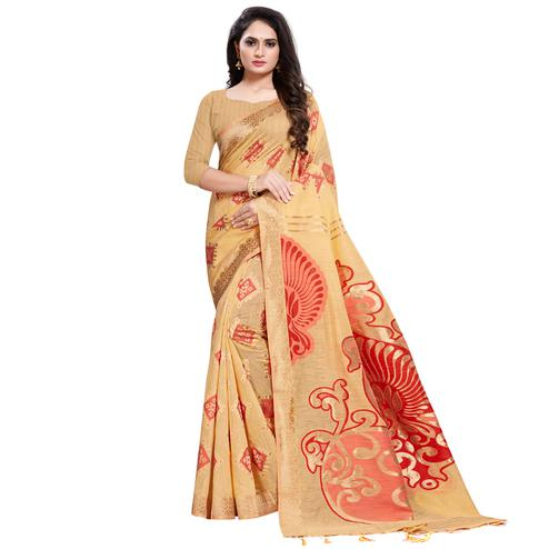 Groovy Light Orange Colored Festive Wear Woven Silk Blend Saree With Tassles