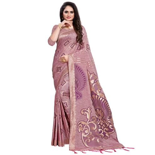 Exotic Purple Colored Festive Wear Woven Silk Blend Saree With Tassles