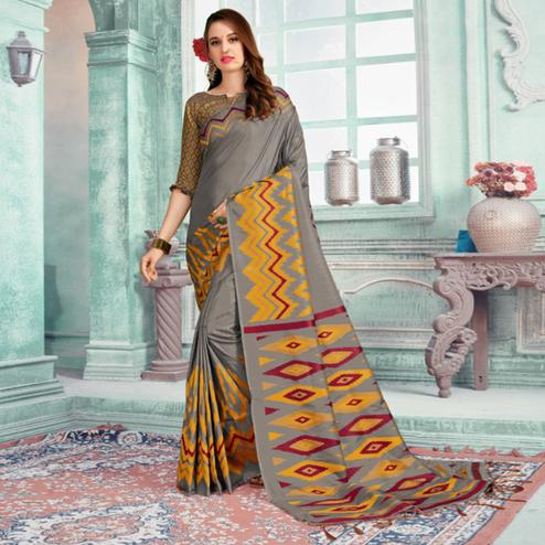 Gorgeous Grey Colored Festive Wear Printed Cotton Silk Saree With Tassels