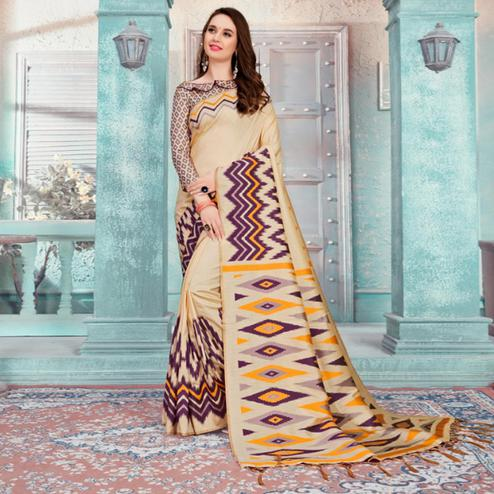 Blissful Beige-Purple Colored Festive Wear Printed Cotton Silk Saree With Tassels