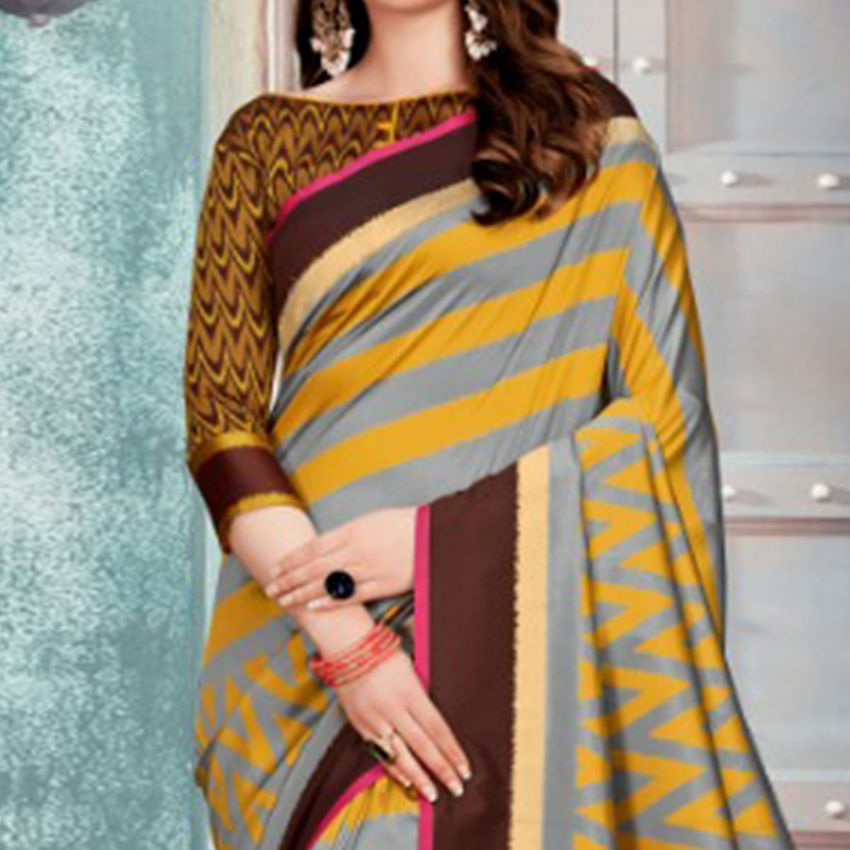 Ideal Grey & Mustard Colored Festive Wear Printed Cotton Silk Saree With Tassels