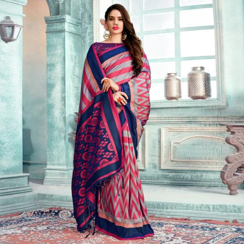 Imposing Pink Colored Festive Wear Printed Cotton Silk Saree With Tassels