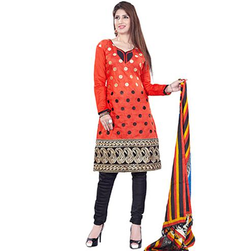 Red Straight Salwar Suit with Fancy Dupatta