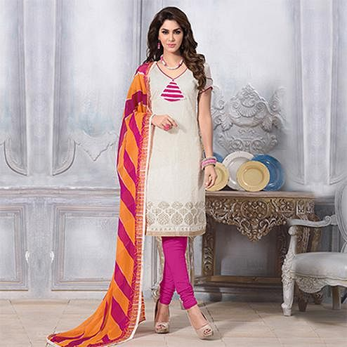 Off White - Pink Chanderi Salwar Suit